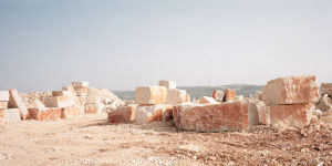 Quarry with lime stone blocks